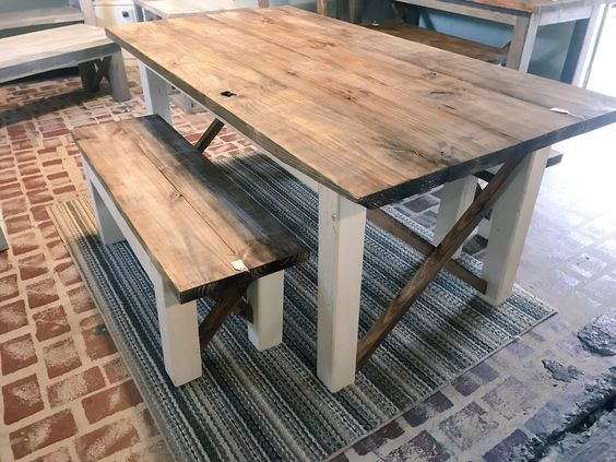 Rustic Farmhouse Table With Benches With Dark Walnut Top And Etsy Rustic Farmhouse Table Rustic Kitchen Tables Farmhouse Table With Bench