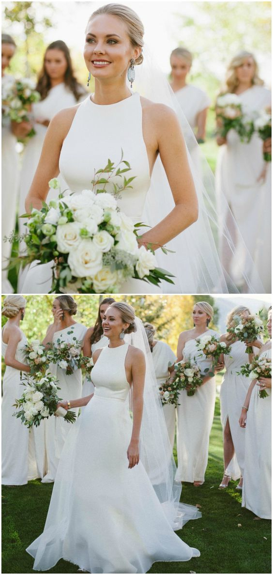 White satin dress, wedding style, a-line gown, high neckline, bridesmaids in white // Margot Landen: