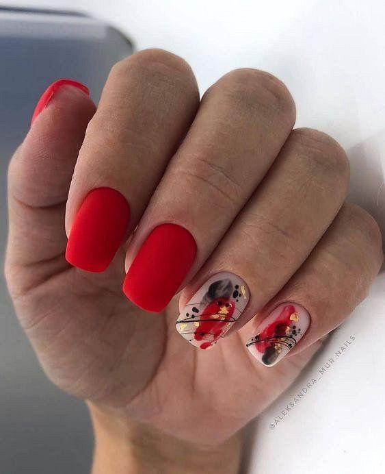 Красный маникюр 2021: тренды и новинки | Красные ногти, Дизайнерские ногти, Ногти