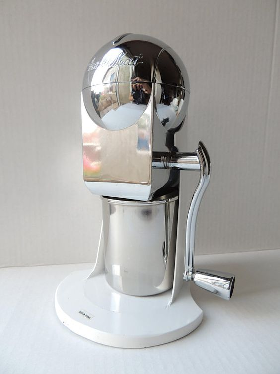 Vintage Ice O Mat Countertop Ice Crusher Chrome White Retro Rocket