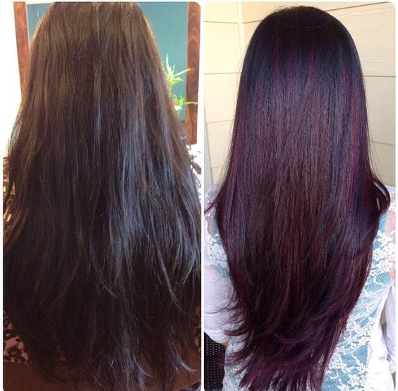 My fall pick Red Violet balayage/ombré before and after. I absolutely love