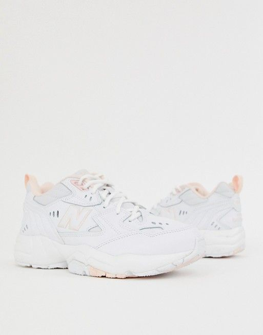 New Balance 608 white and pink chunky trainers | Boots in