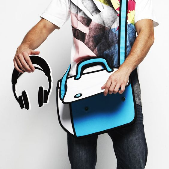 This is the most awesome bag I have ever seen... it is NOT a cartoon drawing... that is a real bag! I need this (and several of the other bags at jumpfrompaper.us) in my life!