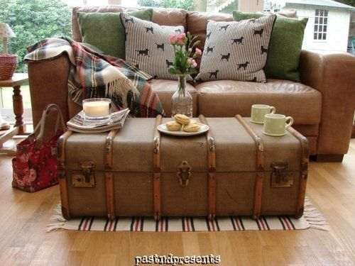 Vintage Retro Bentwood Bound Wooden Steamer Trunk Luggage Suitcase Coffee Table Ebay No