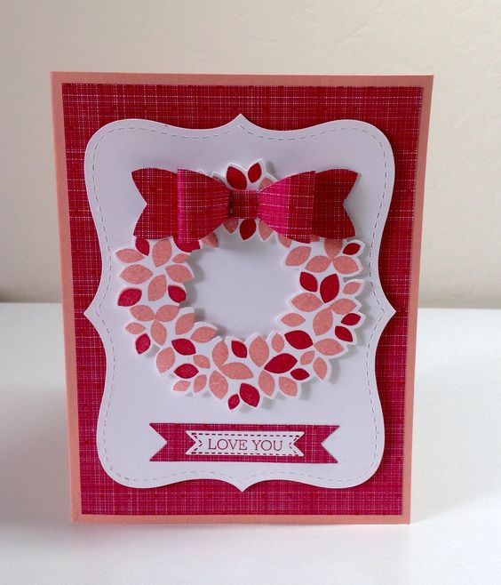 Made by Denise Hoepfner using Stampin Up Wondrous Wreath, Top Note Bigz Die, Bitty Bow Builder punch, Itty Bitty Banners stamp and Framelits. Colors are Real Red and Crisp Cantaloupe with Stacked with Love DSP.