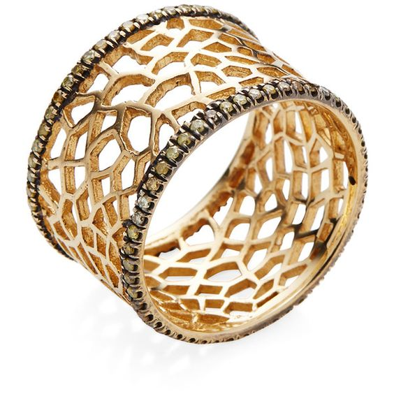 Loree Rodkin Yellow Diamond Spider Web Band Ring ($2,600) ❤ liked on Polyvore featuring jewelry, rings, gold, womens jewellery, band jewelry, 18 karat gold jewelry, yellow diamond jewelry and 18k jewelry