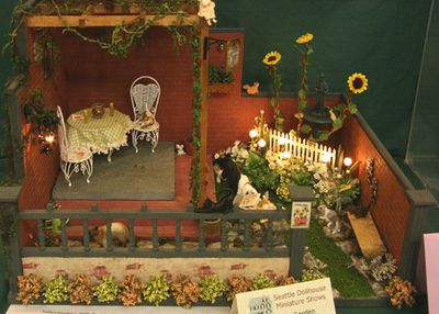 Miniature Roomboxes From the Spring 2011 Seattle Dollhouse Miniature Show: Garden scene showcasing what Stella's Garden would look like by Nancy Peterson