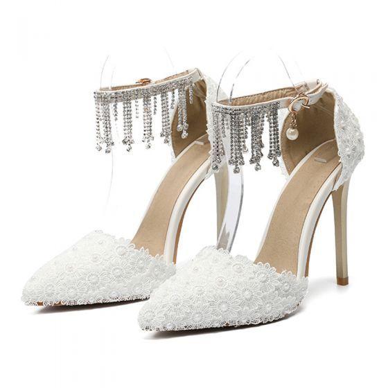 Eleganckie Kosc Sloniowa Z Koronki Kwiat Buty Slubne 2020 Rhinestone Kutas Z Paskiem Perla 11 Cm Szpilki Szpiczaste Slub Czolenka Flower Wedding Shoes Stiletto Heels Wedding Shoes