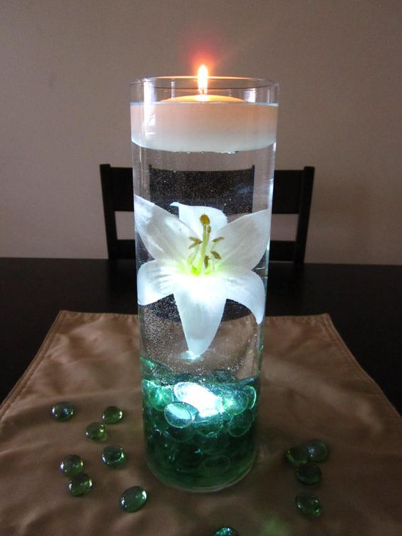 white lily is beautifully suspended in water with sea green, Reel Combo