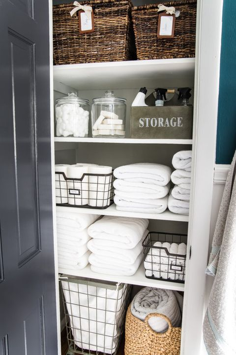 Shea S Best Linen Closet Organization Tips And Products In 2020 Linen Closet Diy Bathroom Storage Linen Closet Organization