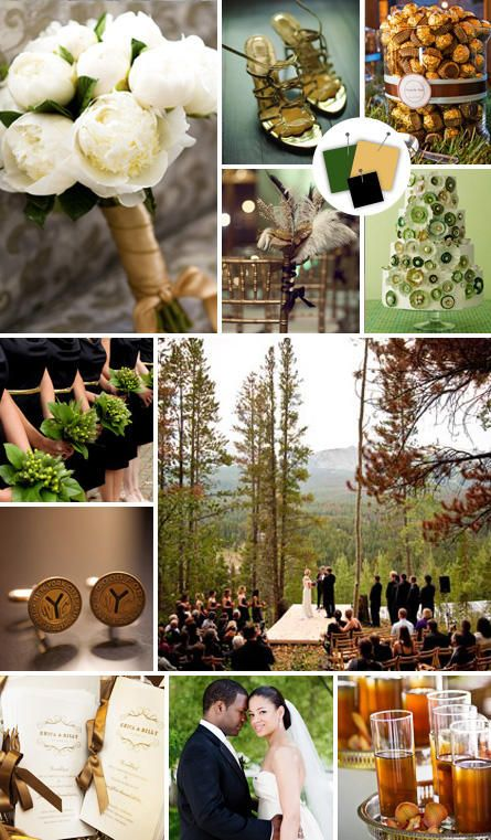 Bronze + Forest Green + Black | Vintage Color Combos We Love | https://www.theknot.com/content/vintage-wedding-color-palettes-we-love