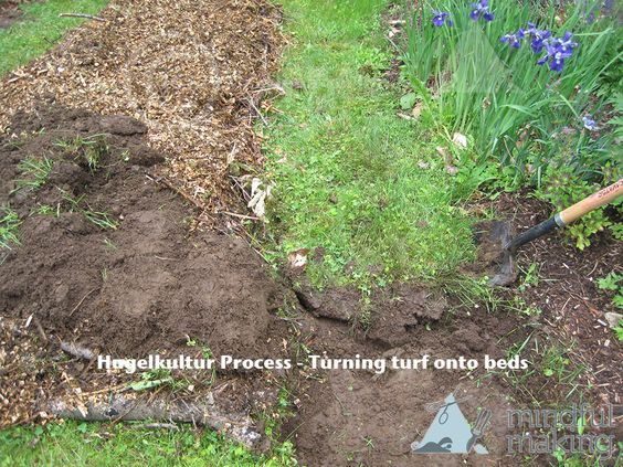 Hugelkultur process turning turf and soil onto the bed for What is rich soil called