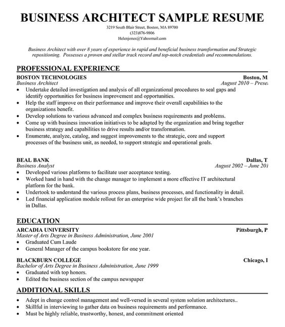 Business Architect Resume Example  Free Resume Resumecompanion