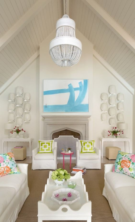 Kevin Walsh - a fun room full of oomph! | Lilly Pulitzer Pillows | Consoles, cubes, coffee table, and tini!: