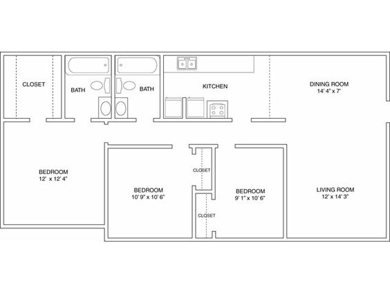 Three Bedroom Floor Plan | Autumn Woods | Pinterest | Bedrooms