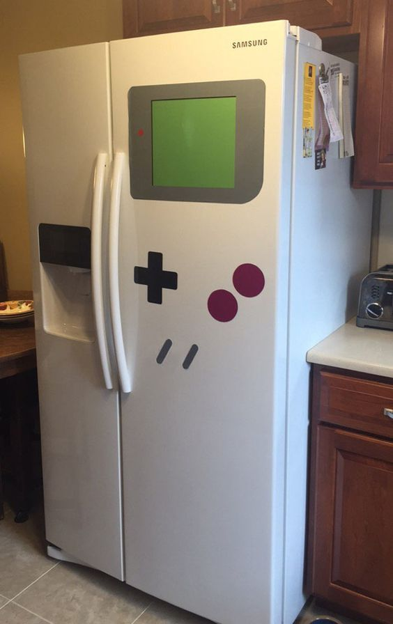 Use these stickers to turn any refrigerator into a game boy.