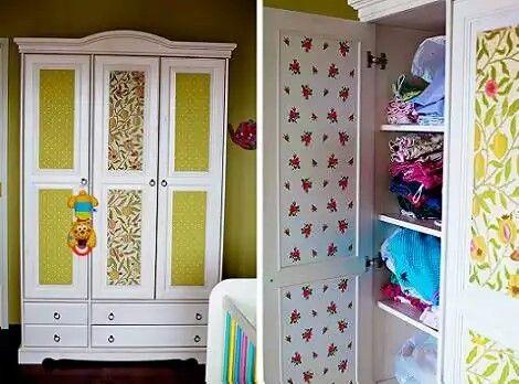 Ropero empapelado muebles reciclados pinterest for Papel de empapelar muebles
