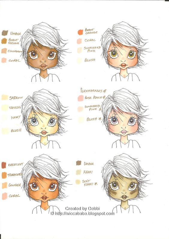 Wiccababe's Tutorials: Skin Tone Colour Combos~~not copics, but still a very good tutorial: Copic Skin Tones, Promarkers Colouring, Tutorials Promarkers, Promarker Tutorial, Promarkers Skintone, Skin Color