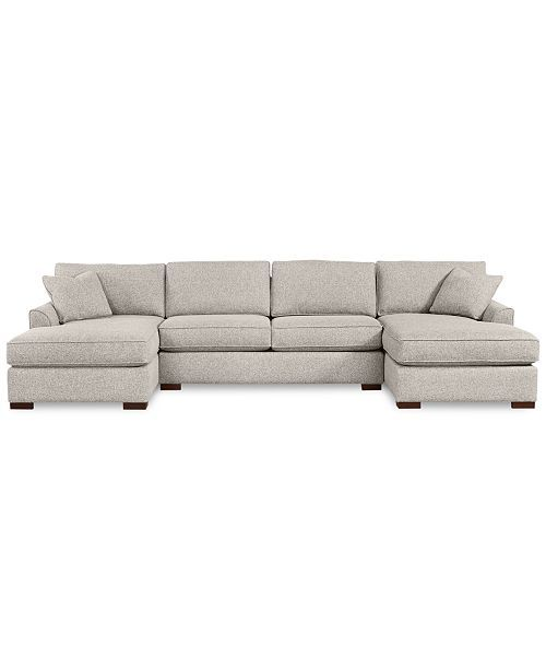 Furniture Carena 3 Pc Fabric Sectional Sofa With Double Chaise Created For Macy S Reviews Furniture Macy S Sectional Sofa Fabric Sectional Double Chaise Sectional
