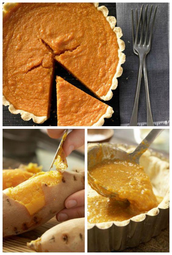 Aus den Südstaaten der USA. Kuchenklassiker mit mürbem Teigboden: Süßkartoffel-Pie mit Ahornsirup | http://eatsmarter.de/rezepte/suesskartoffel-pie