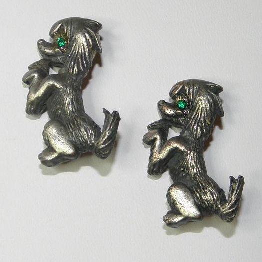 Vintage SilverTone Begging Dog Scatter Pins with Green Rhinestone Eyes