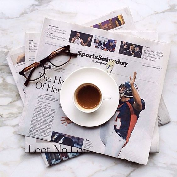 Newspapers and coffee: