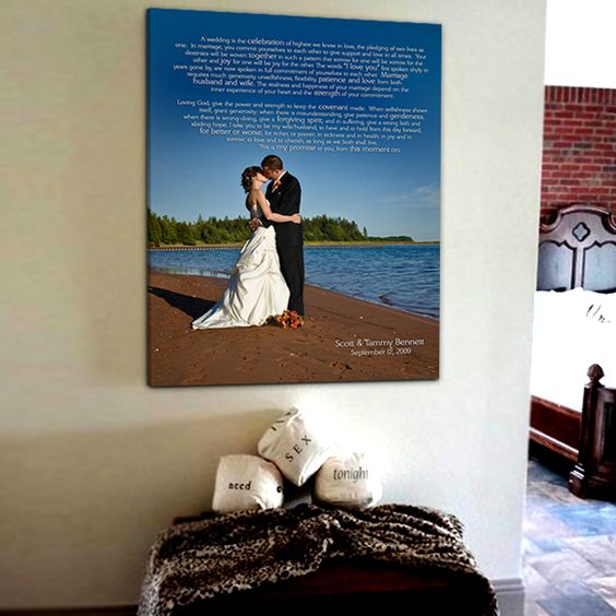 Good idea... Canvas with first song lyrics. -- Or wedding vows.