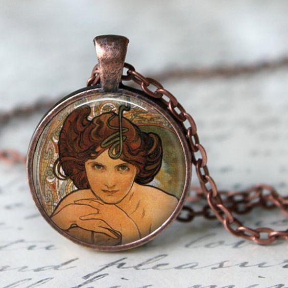 ALPHONSE MUCHA Necklace Glass Pendant Art by LiteraryArtPrints  #literary #jewerly