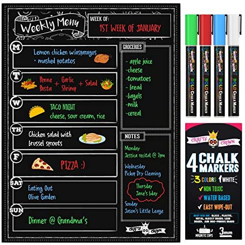 Magnetic Dry Erase Menu Board For Fridge Includes 4 Liquid Chalk Markers Weekly Meal Planner Blackboar Liquid Chalk Markers Chalk Markers Weekly Meal Planner