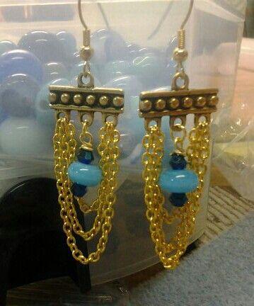 Gold Chain Chandelier Earrings w/ glass beads