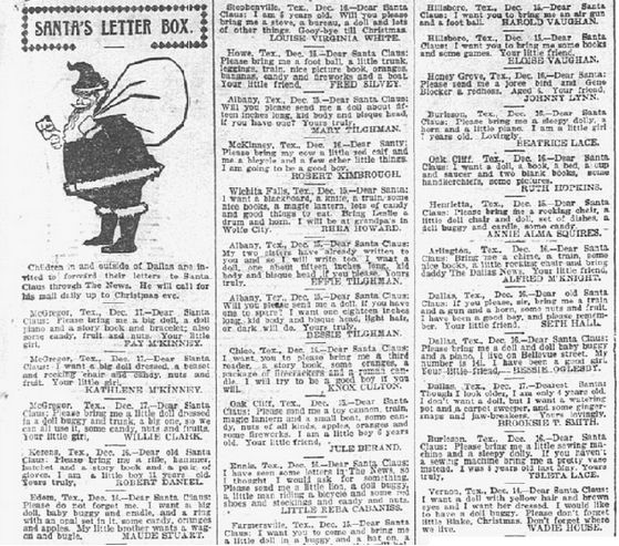 A Newspaper Article About Letters That Children Wrote To Santa