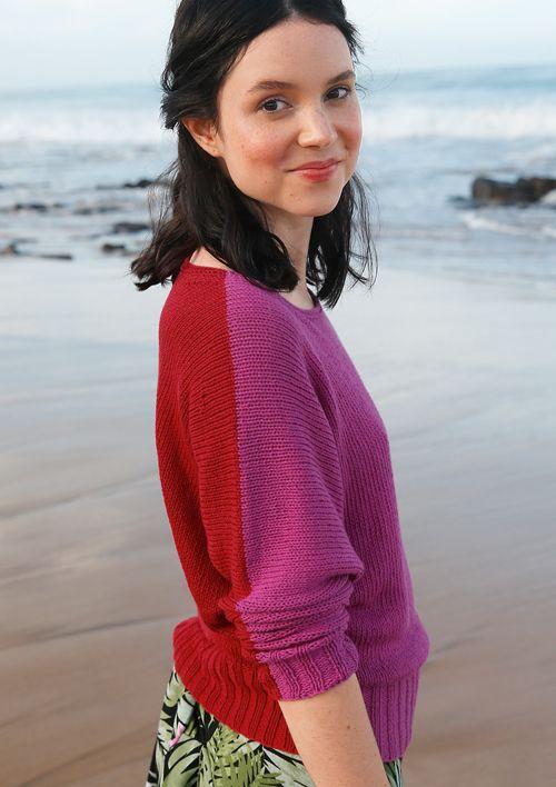 Fledermaus-Pullover in Pink/Rot,  (Garnpaket zu Modell 11 aus Rebecca Nr. 61, gestrickt ggh-Garn SILKA, 100% organic Cotton/Silk
