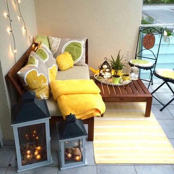 Small balcony ideas. My new Balcony - IKEA Äpplarö furniture, Gurine fabric on cushions, Bird Cage with Skruv + Stråla lighting