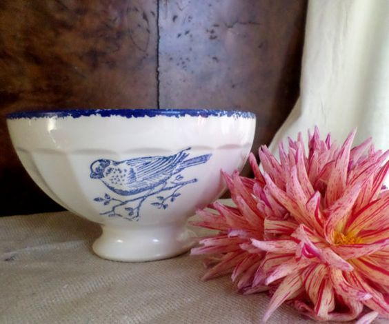French vintage bowl coffee bowl transferware  bird café au lait bowl transferware ironstone Farmhouse decor french kitchen  shabby chic bird