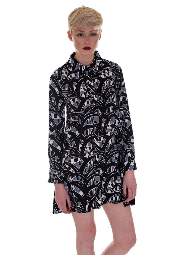 Style this abstract shirt dress with chunky heeled boots and a leather jacket for an edgy but stylish look. Free and Express Delivery Available.