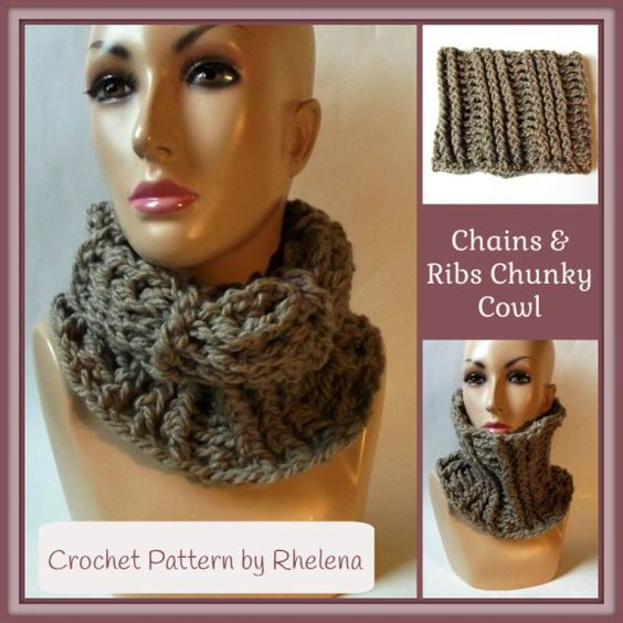Chains and Ribs Chunky Cowl ~ FREE Crochet Pattern | Stuff to Try ...