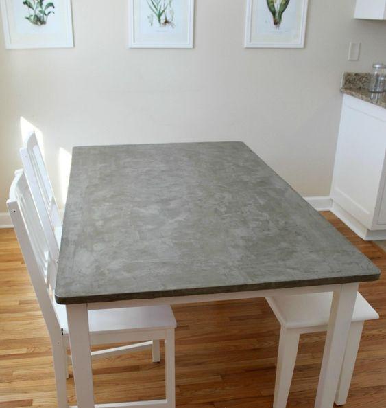 esstischplatte in betonoptik mit weiß gestrichenem gestell | deko, Esstisch ideennn