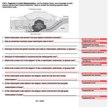 Worksheet - Metamorphic Rocks #2 *EDITABLE* (WITH ANSWERS ...