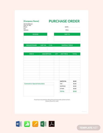 Standard Purchase Order Template Free Pdf Google Docs Google Sheets Excel Word Apple Numbers Apple Pages Pdf Template Net Purchase Order Template Purchase Order Templates