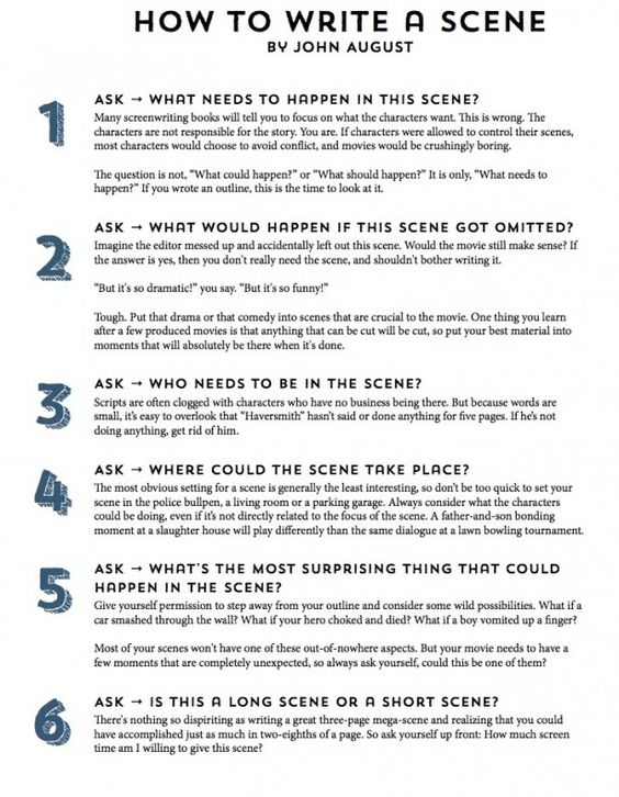 Infographic John Augustu0027s 11-Step Guide to Writing a Scene Step - how to write a