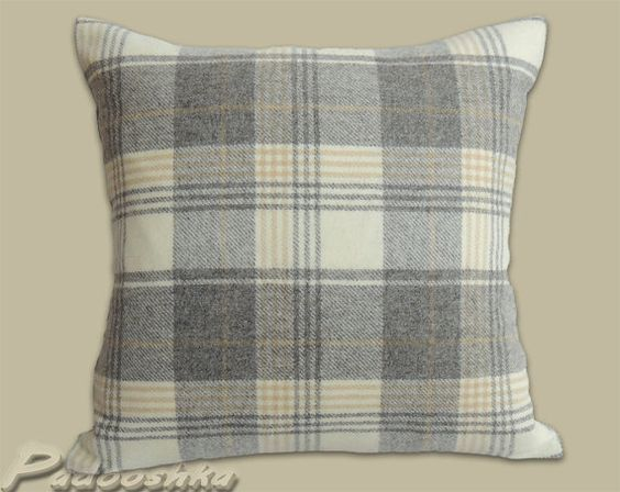 Luxurious soft grey tweed cushion cover tartan style. Plaid throw pillow cover. 18