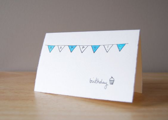 Cute Birthday Card Simple Bunting and Cupcake Drawing Happy – Birthday Card Drawing Ideas