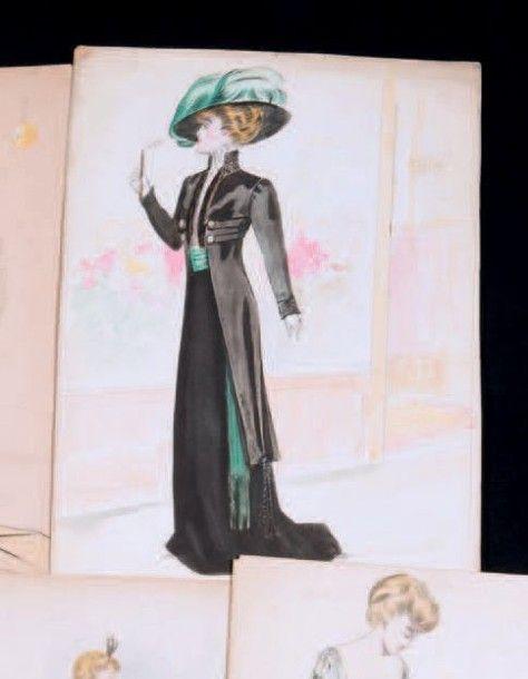 5 Dessins originaux de mode, maison W0RTH, vers 1900 et 1907. Encre, aquarelle et flocage de paillettes argent, robe de soirée, manteau d'Opéra et tailleur de jour. On joint: une gouache d'un tailleur… - Thierry de Maigret - 24/03/2016