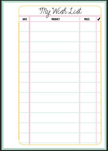 Filofax Wish List Printable – Printable Wish List Template