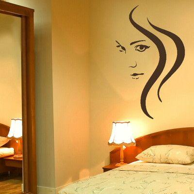 Beauty Woman Hair Salon Wall Art Sticker Graphic Stencil