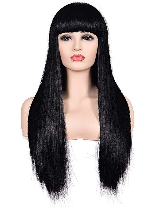 Morvally Women S 26 Long Straight Black Synthetic Resistant Hair