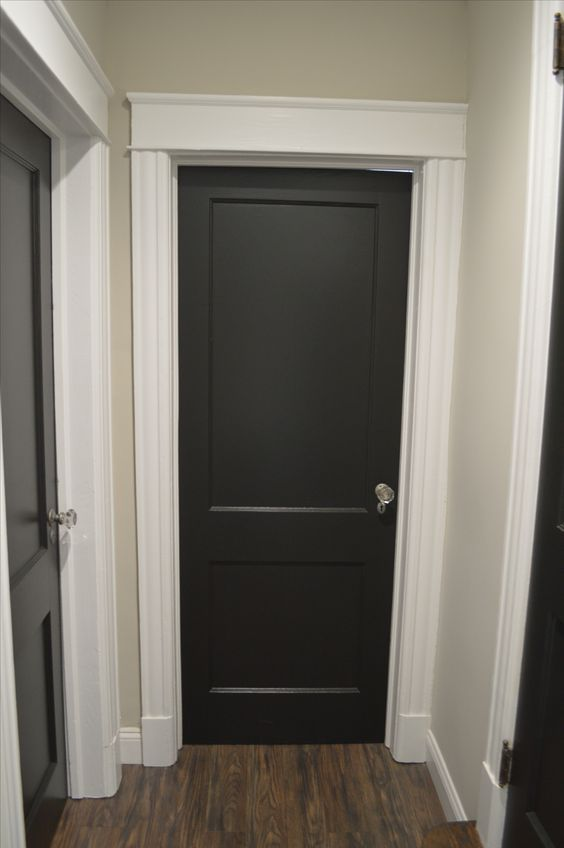 We used Behr Black Suede flat on all of our doors in our home. With the original glass knobs these doors are on fleek! The walls are Benjamin Moors Revere Pewter, which was used throughout the entire house!! #youngcoupleoldhome www.youngcoupleoldhome.com