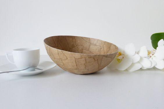 Bol papier maché naturel - grand modèle de la boutique BHAXIdesign sur Etsy