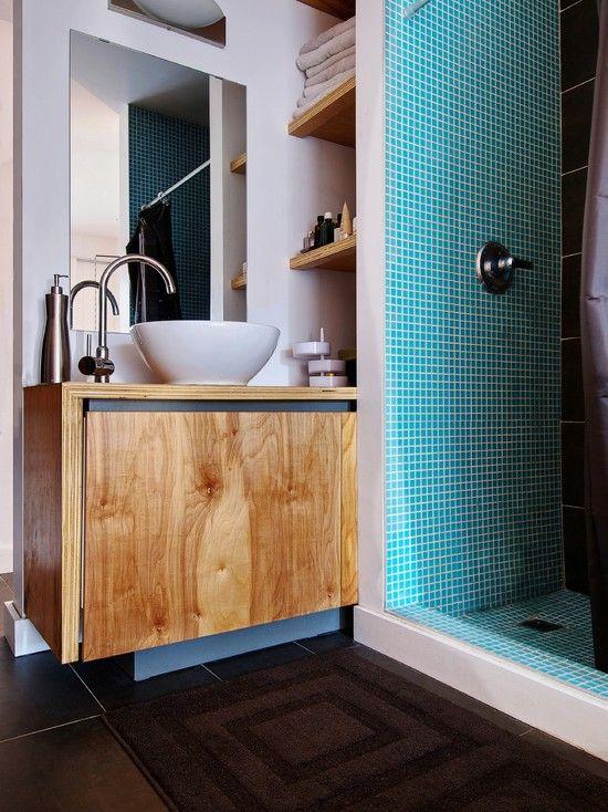 Marine Plywood Bathroom Floor : Plywood modern vanity and walls on