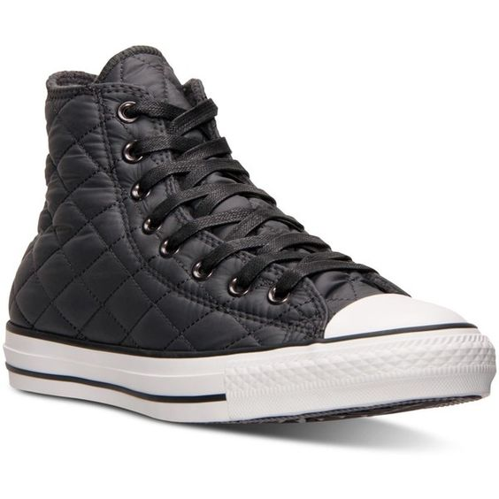 Converse Unisex Chuck Taylor Hi Quilted Nylon Casual Sneakers from... ($70) ❤ liked on Polyvore featuring shoes, sneakers, converse sneakers, quilted shoes, lined shoes, vintage shoes and converse trainers